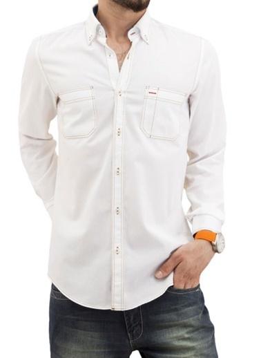 Comienzo Uzun Kollu Gömlek Beyaz